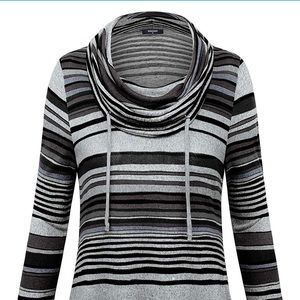 BNWT-Striped Cowl Neck Pullover Long Sleeves Tunic